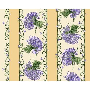 Nappe bouquet de lavande écru bleu coton 3m/1m60