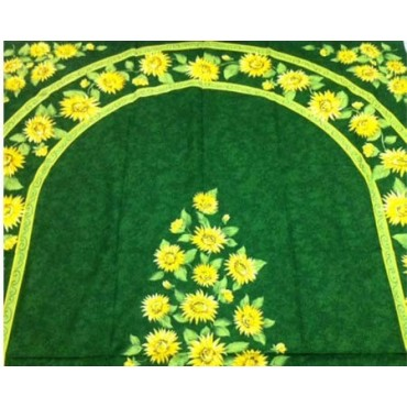 Nappe tournesol vert coton 2m50/1m60