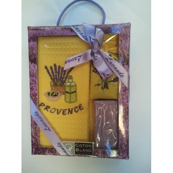 Coffret Torchon coton nid d'abeille jaune et savon lavande et sachet de lavande