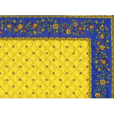 Chemin de table cadré matelassé exclusif jaune bleu cadre fleurs bleu m / 38 cm
