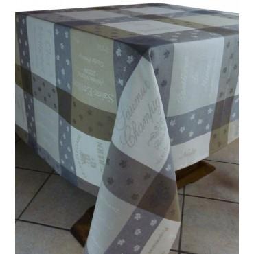 Nappe coton tissé jacquard traité téflon dupont sommelier écru 2m50/1m80