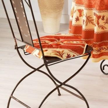 Coussin de chaise 4 rabats tournesol abeille brique
