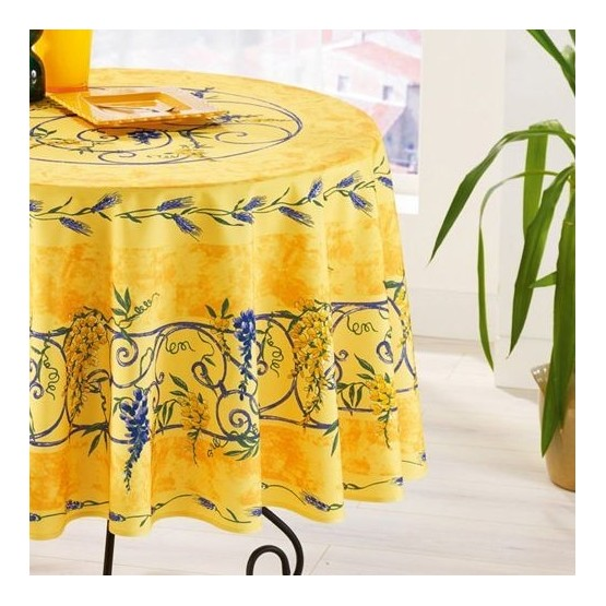 nappe ronde anti tache sans repassage glycine et lavande jaune 1m80. Black Bedroom Furniture Sets. Home Design Ideas