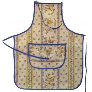Tablier coton faïence de Moustiers bleu