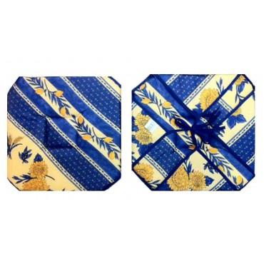 Coussin de chaise 4 rabats tournesol abeille bleu