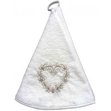 Essuie main rond en éponge coeur blanc