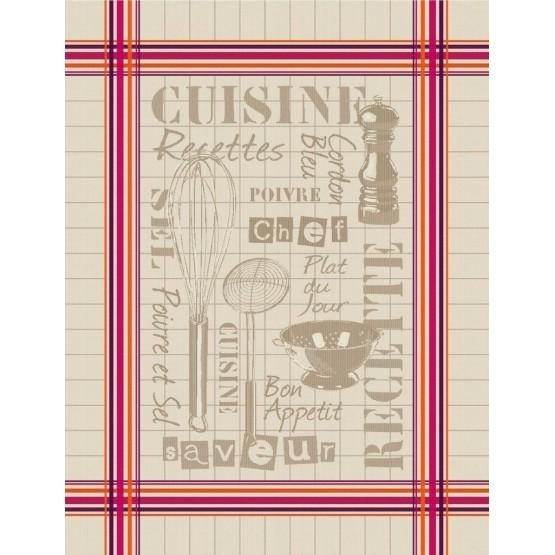 Lot de 3 Torchons coton tissé Jacquard cuisine