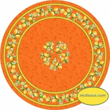 Nappe ronde coton citron orange1m80