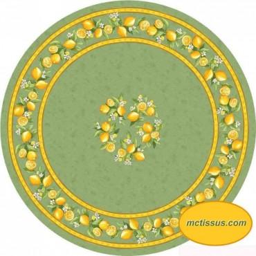Nappe ronde coton citron vert 1m80