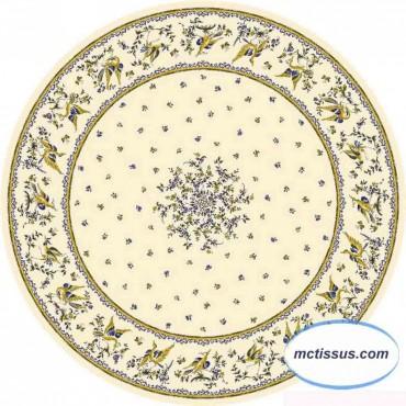 Nappe ronde coton 1m80 faïence de moustiers  bleu