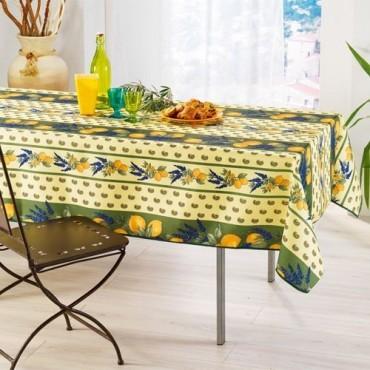 Nappe anti tache infroissable citron lavande vert  2m / 1m50