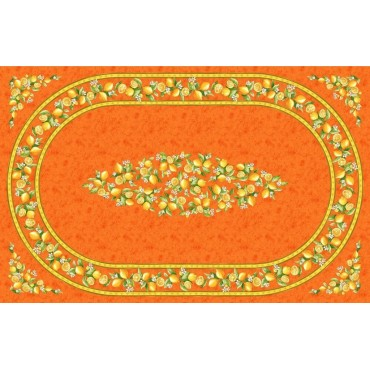Nappe coton citron orange  2m50/1m55