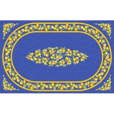 Nappe coton enduit  plastifiée citron bleu 2m50 / 1m55