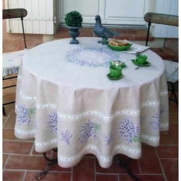Nappe ronde coton enduit valensole lin 1m80