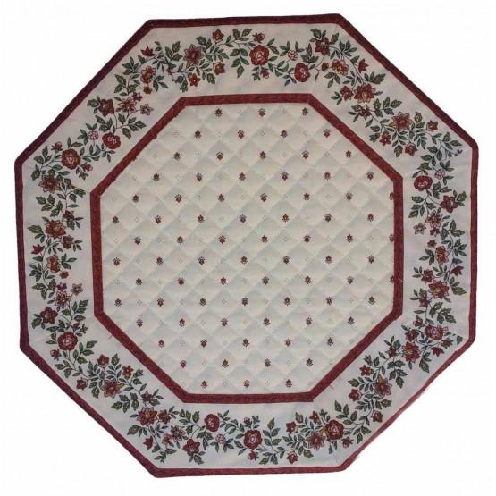 SSet de table octogonal exclusif blanc rouge cadre fleur blanc