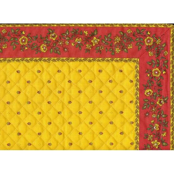 Set de table exclusif cadré jaune rouge fleur rouge