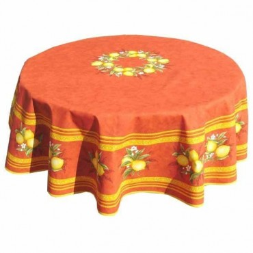 Nappe ronde coton enduite citron orange 1m80