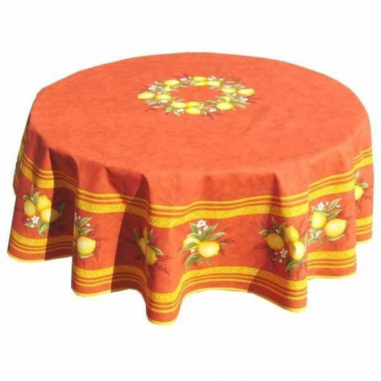 nappe ronde coton enduite citron orange 1m80. Black Bedroom Furniture Sets. Home Design Ideas