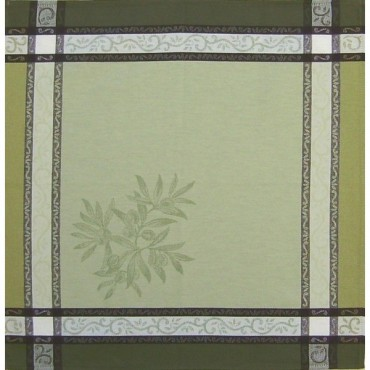 Serviette jacquard olive vert