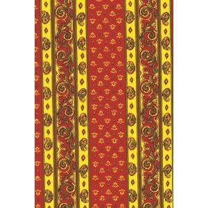 Tissu  au mètre coton  provençal rouge jaune rayure