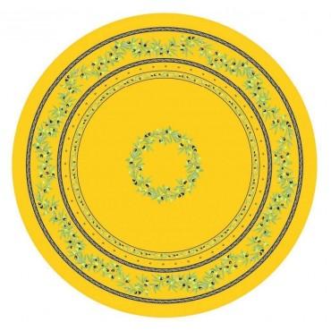 Nappe ronde coton enduit ramatuelle jaune bleu 1m80