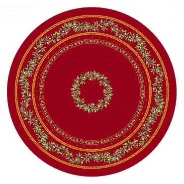 Nappe ronde coton ramatuelle rouge 1m80