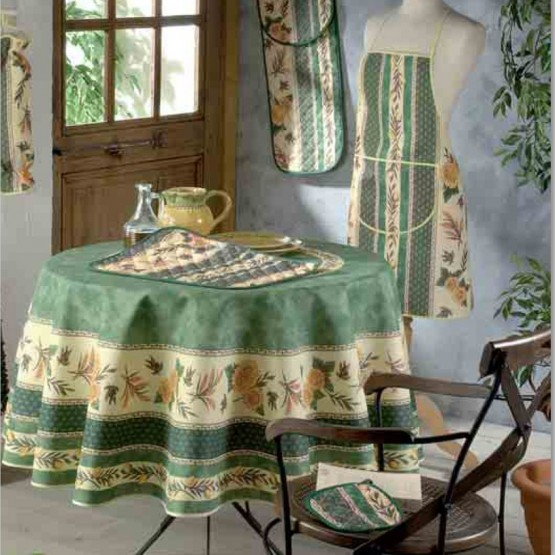 nappe ronde 1m80 abeille vert polyester anti tache infroissable proven ale. Black Bedroom Furniture Sets. Home Design Ideas