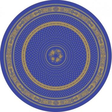 Nappe ronde jacquard coton tissé  2m30 Bastide  bleu jaune