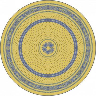 Nappe ronde jacquard coton tissé  2m30 Bastide jaune bleu