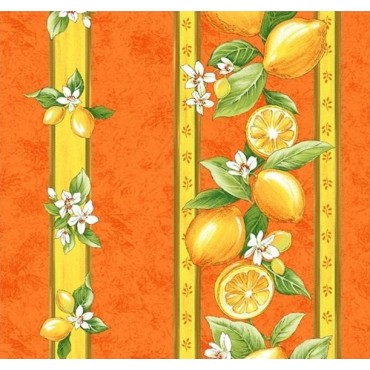 Nappe citron orange coton enduit plastifié 3m/1m55