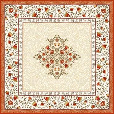 Tapis de Table Jacquard aubrac écru orange 75x75 cm