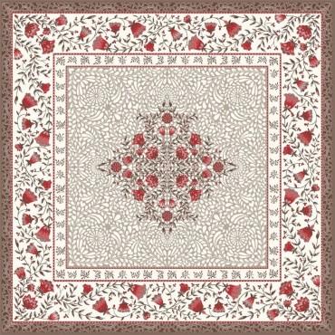 Tapis de Table Jacquard aubrac taupe rouge 75x75 cm