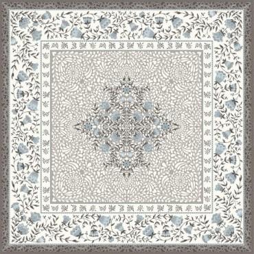 Tapis de Table Jacquard aubrac taupe bleu 75x75 cm
