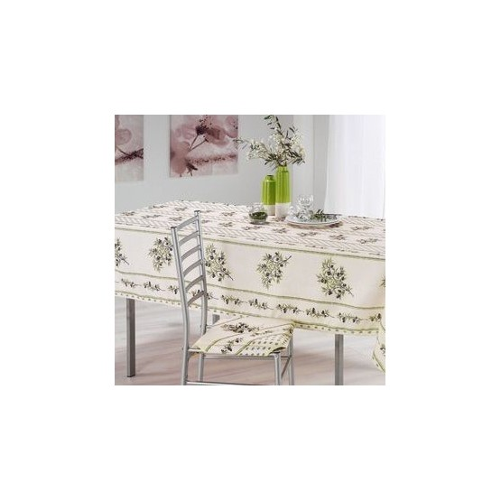 nappe olivou cru vert rectangle 2m40 nappe proven ale anti tache et sans repassage. Black Bedroom Furniture Sets. Home Design Ideas