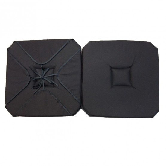 coussin de chaise 4 rabats uni gris anthracite. Black Bedroom Furniture Sets. Home Design Ideas