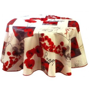 nappe ronde anti tache sans repassage coquelicot poppy 1m80. Black Bedroom Furniture Sets. Home Design Ideas