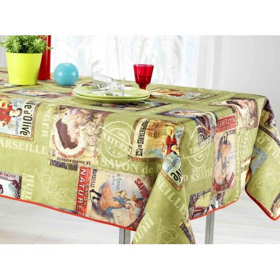 nappe huile d 39 olive ref 73090 2m 40 x 1m48 anti tache et infroissable. Black Bedroom Furniture Sets. Home Design Ideas