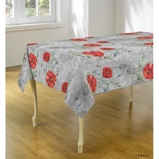 nappe ovale ref 15642n coquelicot 2m40 x 1m48 anti tache infroissable. Black Bedroom Furniture Sets. Home Design Ideas