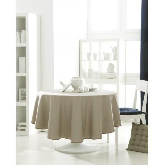 nappe ronde uni beige mastic 1m80 anti tache infroissable. Black Bedroom Furniture Sets. Home Design Ideas