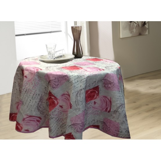 nappe ronde 1m60 jn214 rose anti tache et infroissable. Black Bedroom Furniture Sets. Home Design Ideas