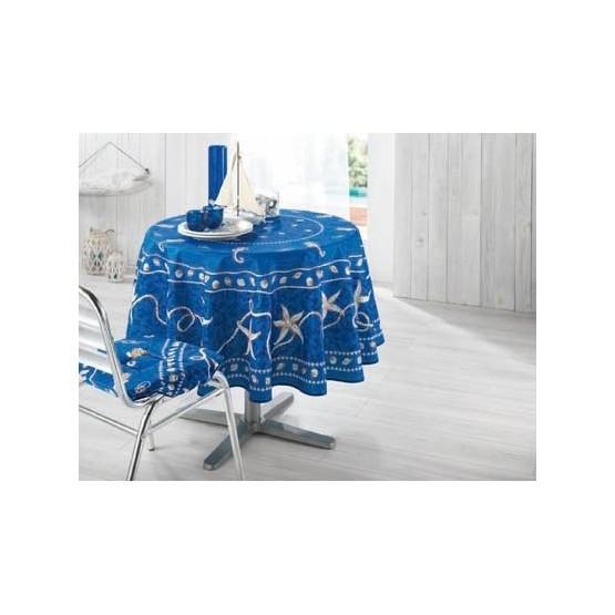 nappe ronde 1m80 marin bleu anti tache infroissable. Black Bedroom Furniture Sets. Home Design Ideas