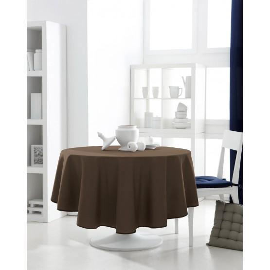 nappe ronde uni marron chocolat 1m60 anti tache infroissable. Black Bedroom Furniture Sets. Home Design Ideas