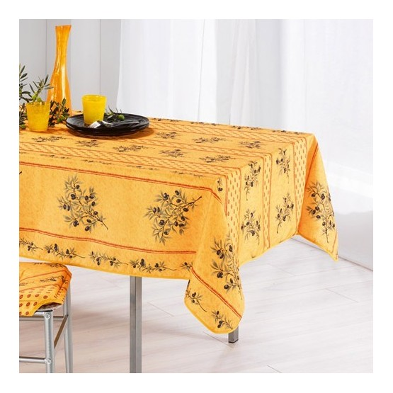 nappe olivou jaune 2m50 1m50 nappe proven ale anti tache. Black Bedroom Furniture Sets. Home Design Ideas