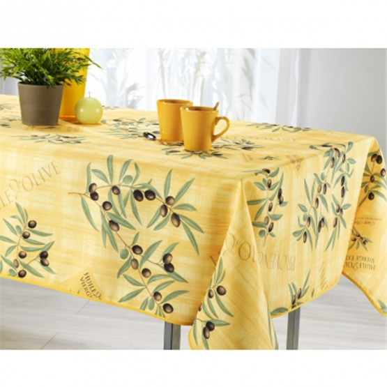 nappe ovale olive jaune ref jn54 2m40 x 1m48 anti tache et infroissable. Black Bedroom Furniture Sets. Home Design Ideas