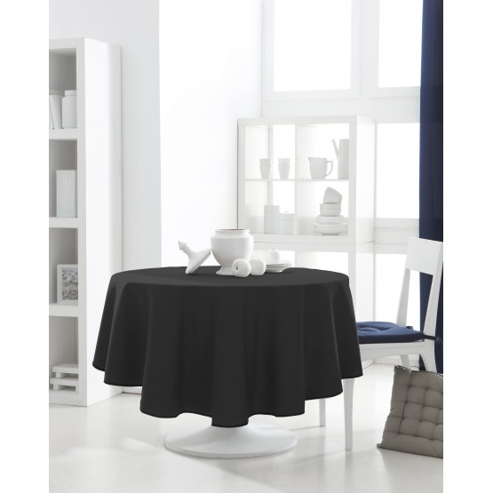 nappe ronde uni noire 1m80 anti tache infroissable. Black Bedroom Furniture Sets. Home Design Ideas