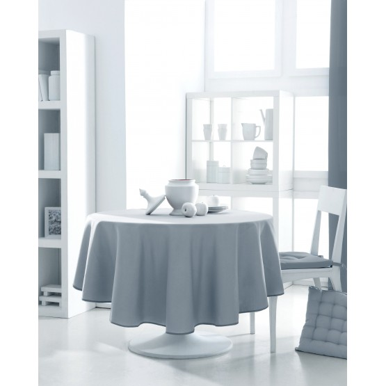 nappe ronde uni gris clair zinc 1m80 anti tache infroissable. Black Bedroom Furniture Sets. Home Design Ideas
