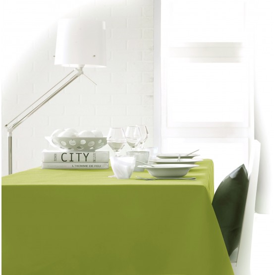 nappe unie vert anis 2m50 x 1m50 anti tache et sans repassage. Black Bedroom Furniture Sets. Home Design Ideas