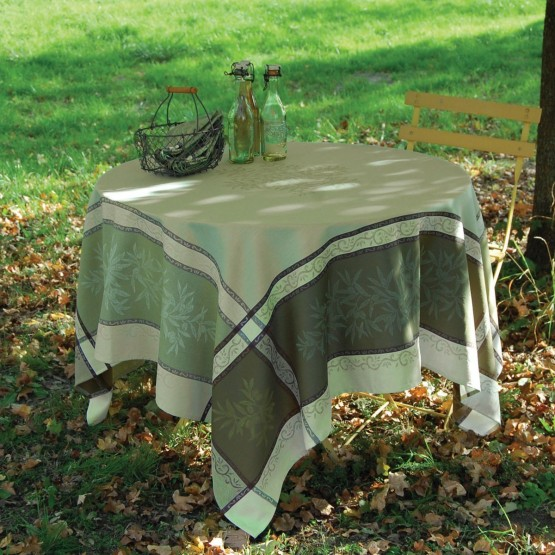 nappe jacquard t flon carr e 1m60 olive vert. Black Bedroom Furniture Sets. Home Design Ideas