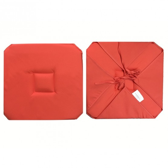 coussin de chaise avec 4 rabats uni corail 40 cm x 40 cm. Black Bedroom Furniture Sets. Home Design Ideas
