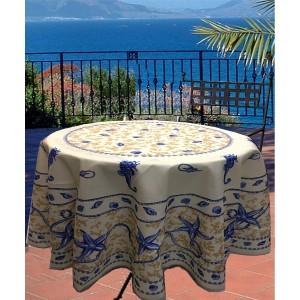 nappe ronde 1m80 marin beige anti tache infroissable. Black Bedroom Furniture Sets. Home Design Ideas